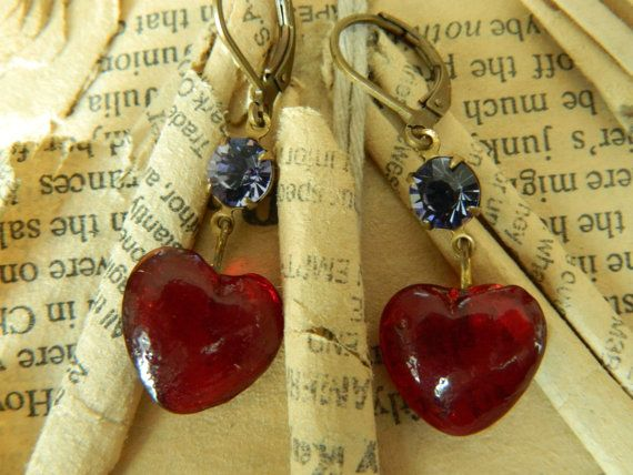 Red Heart Vintage Assemblage Earrings by 58diamond by 58Diamond