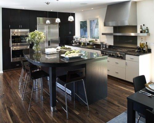 Black + (stainless) steel looks gooood in the kitchenDining Room, Beautiful Kitchens, Kitchens Design, Dreams Kitchens, Kickass Kitchens, Kitchens Dining, Walnut Floors, Range Hoods, Dinning Kitchens