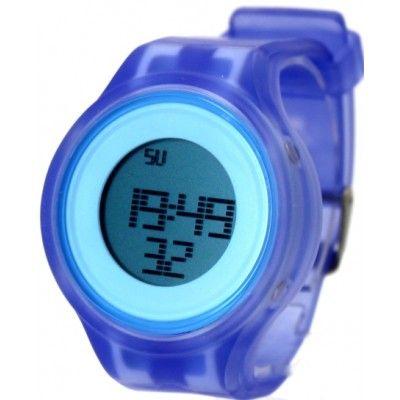 DW363B Blue Watchcase Alarm BackLight Silicone Blue Band Men Women Digital Watch