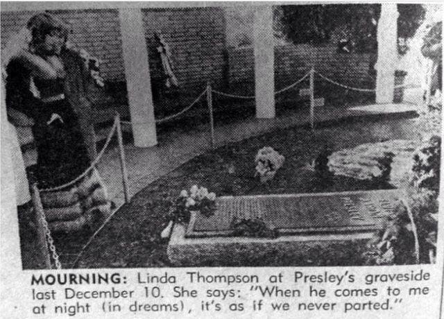 Linda Thompson at Graceland visiting Elvis's grave                              …