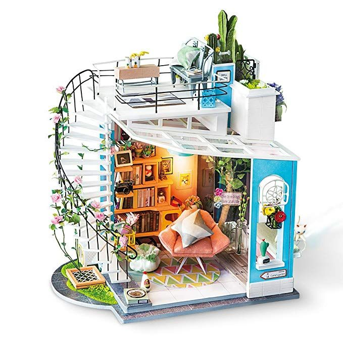 ROBOTIME DIY Dollhouse Miniature Doll House Kits Wooden Craft Kit Birthday Gift