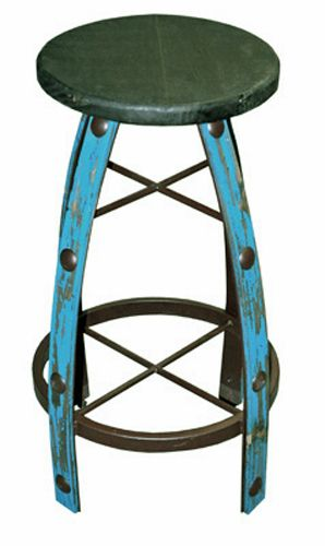 "Rustic Iron & Wood 30"""" Turquoise Scraped Bar Stool"