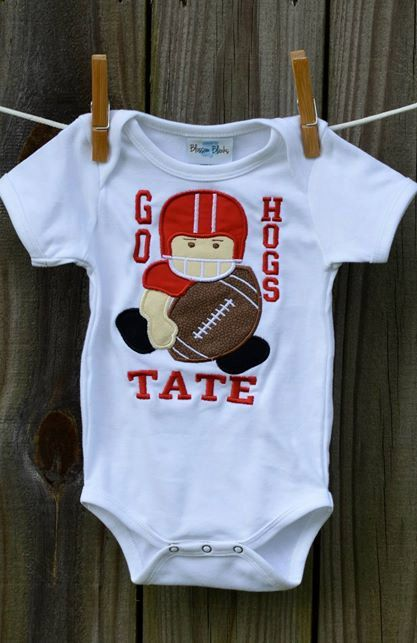 Personalized Football Team Player Boy Applique Shirt or Onesie on Etsy, $25.00