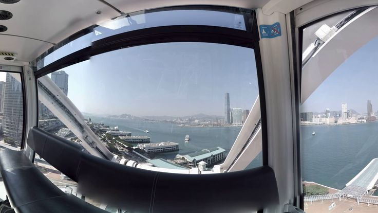 360 video: Observation Wheel, Hong Kong, China / Providing stunning views of all of Hong Kong, especially the Victoria Harbor, this 60-metre tall Ferris wheel opened in 2014. It features 42 gondolas, each accommodating eight passengers. Various events also take place on the plaza by the attraction. / VR / Virtual reality