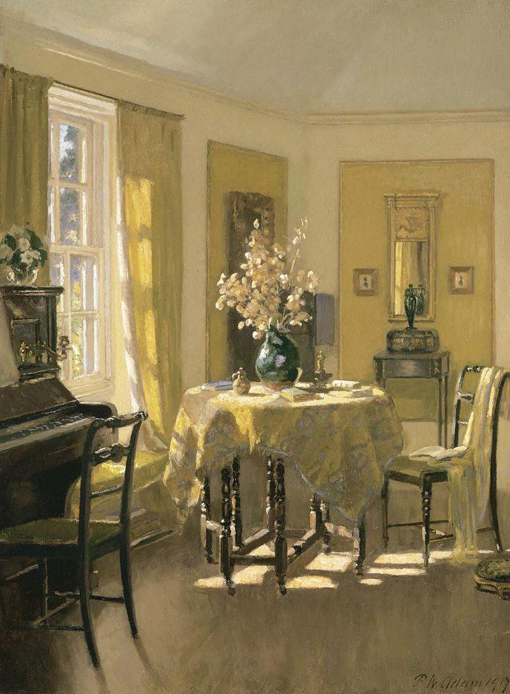 ◇ Artful Interiors ◇ paintings of beautiful rooms - Patrick William Adam | The Study, Ardilea, North Berwick,1917: