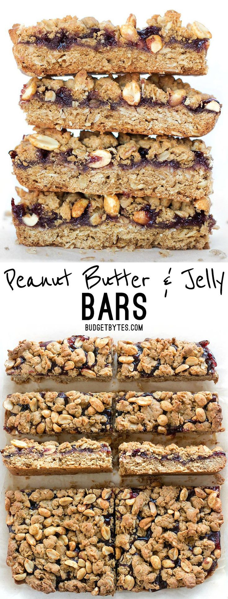Peanut Butter and Jelly Bars are the perfect salty sweet dessert to remind you of your childhood. BudgetBytes.com