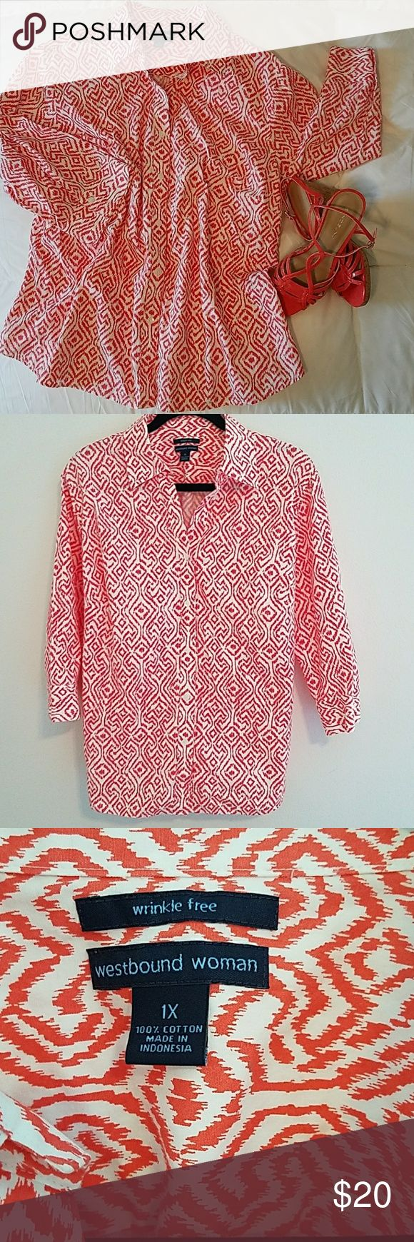 Westbound Woman button-down chevron top sz 1X Westbound Woman button-down chevron top with 3/4 sleeves sz 1X. Very nice peachy orange color Aztec print top, has small side slits, size 1X 100% cotton wrinkle-free. Condition is very good. 🌴 Westbound Tops Button Down Shirts