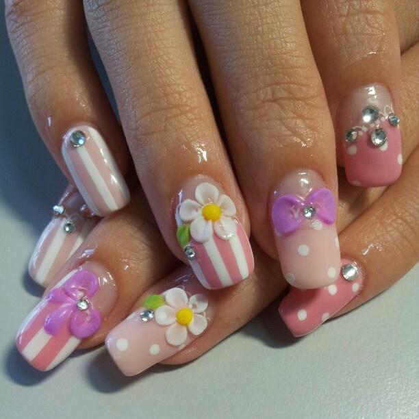 pink japanese nail art. Instagram photo by @nail28tsenwei via ink361.com