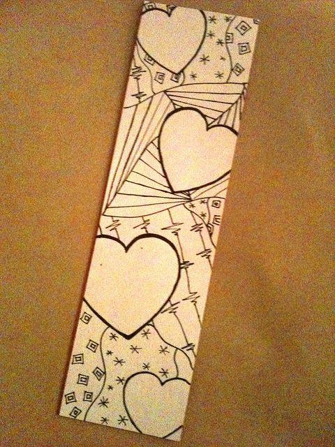 Zentangle Bookmark by ThinkingOfBlue, via Flickr