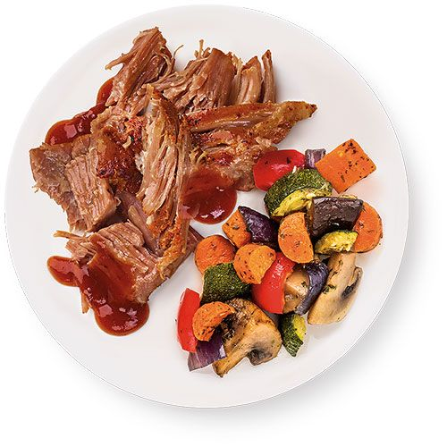 Wegmans Ready-to-Cook Brown Sugar BBQ Pork Shoulder with Roasted Veggies