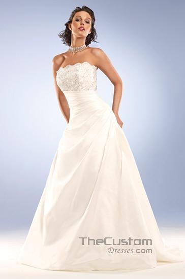 A-line Strapless Chapel Taffeta Wedding Dresses 10605086
