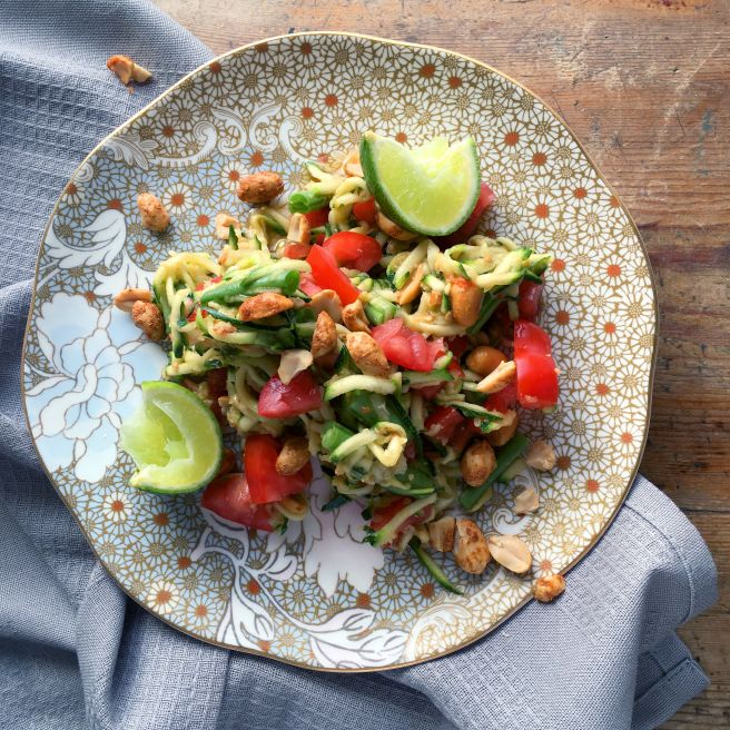 I love this Thai salad recipe, if you can get your hands on an unripe papaya then great, if not (like me) grated courgette will do just fine. Tuck in for healthy, delicious vegan meal.
