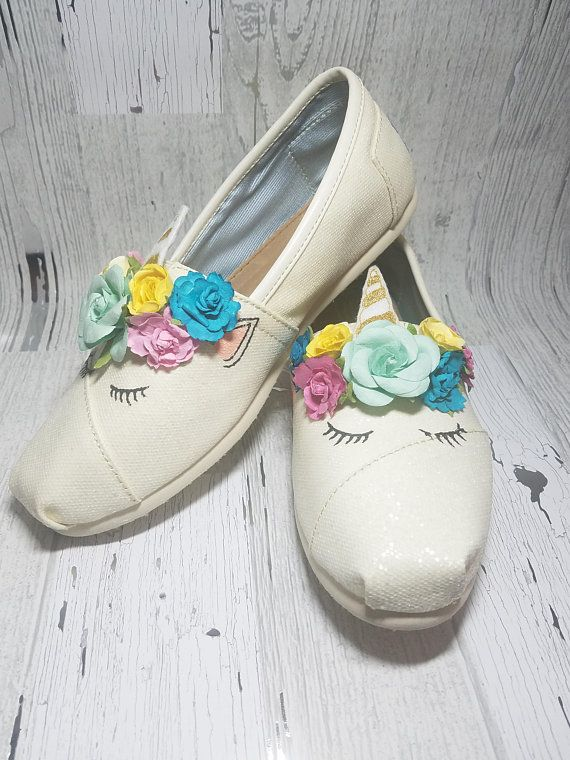 1a2690d392f8 Sleeping Unicorn shoes- Childrens sizes    These are a pair of custom  Sleeping Unicorn Shoes adorned with unicorn horn and flowers. Show off  these beautiful ...