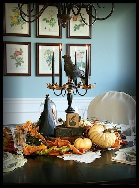 : Wall Colors, Halloween Decor, Colors Wall, Fall Decor, Paintings Colors, Halloween Tablescapes, Fall Halloween, Halloween Centerpieces, Fall Tablescapes