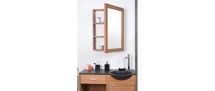 Specchio contenitore da bagno in teck design ARIKA - Miliboo