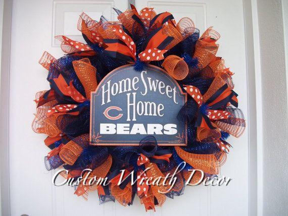 17 Best Ideas About Chicago Bears Wreath On Pinterest