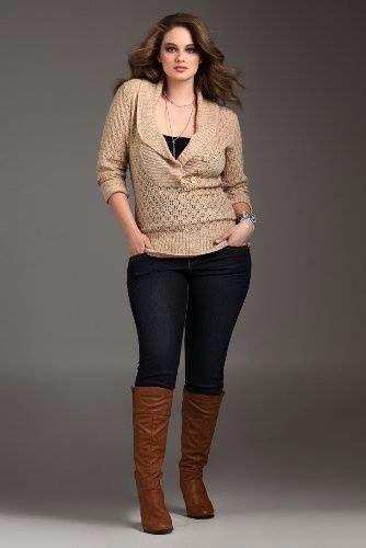 Outfit botas cafes oto o inviernos pantalon mezclilla petroleo modas casual oto o Fashion style for curvy