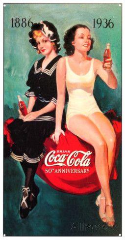 Coca Cola: bañistas de los 50 Cartel de chapa