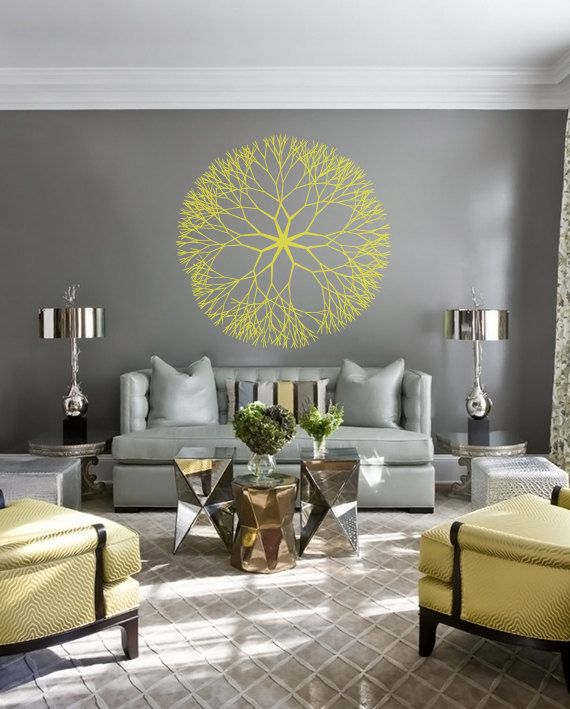 Large Decorative Abstract Flower Mandala Decal for Living Room, Dorm, Yoga, Studio, Home or Bedroom
