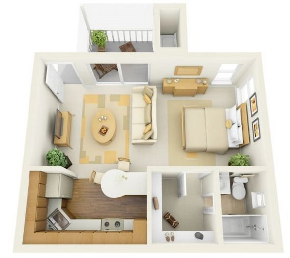 3D One Bedroom Tiny Home Floor Plans for New Parent Square feet