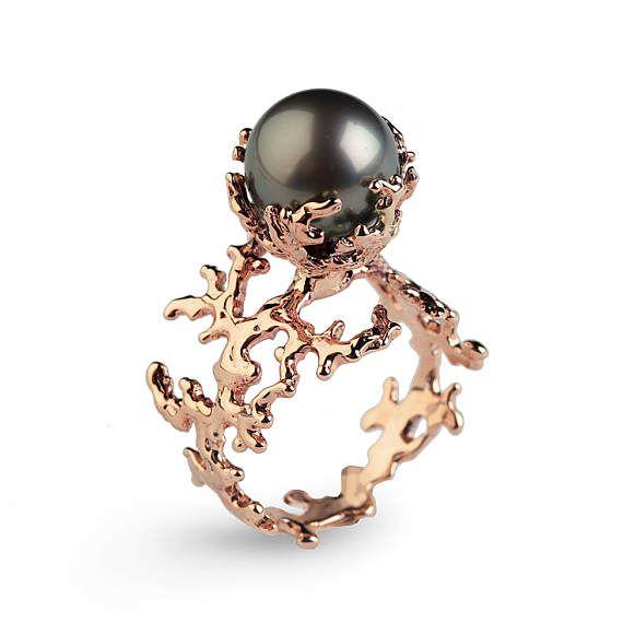 ROSE CORAL Tahitian Pearl Ring Black Pearl Engagement Ring