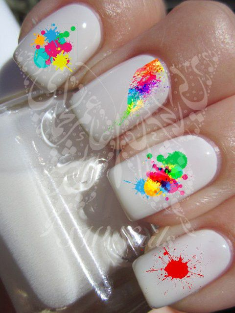 Splash of Paint Nail Art Nail Water Decals Transfers Wraps