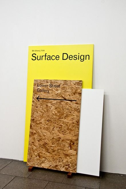 Leaning layered signage boards