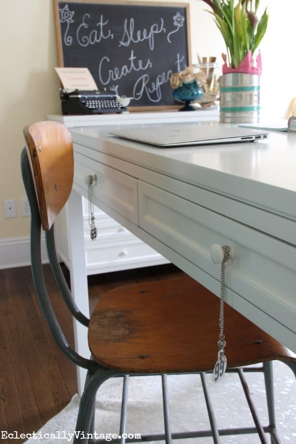 Craft Room Furniture Ideas - love the style of this clean and bright space eclecticallyvintage.com