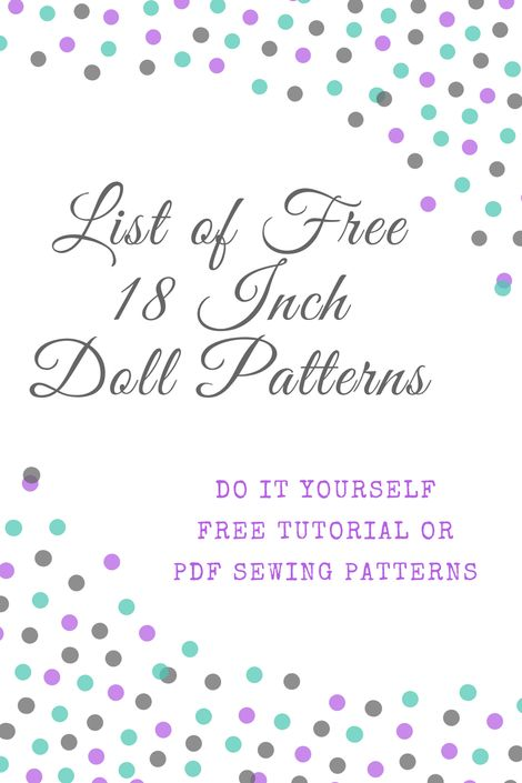 Lista de Livre padrões de costura de 18 polegadas para DIY, tutoriais e PDFs.