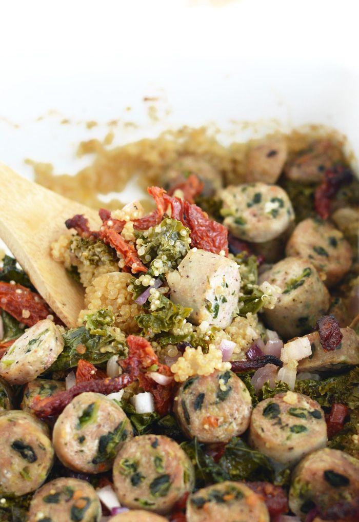 Sun-Dried Tomato, Kale, and Chicken Sausage Quinoa Bake #glutenfree