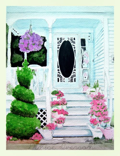 White Victorian House with Flowers on the Porch Painting - Original Watercolor 9x12 by Denise Iverson