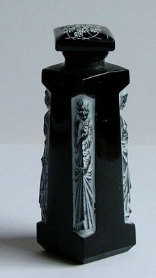 AMBRE for D'Orsay    A choice of two black glass perfume bottles. Signed with raised moulded mark to edge of the base. Date c1930