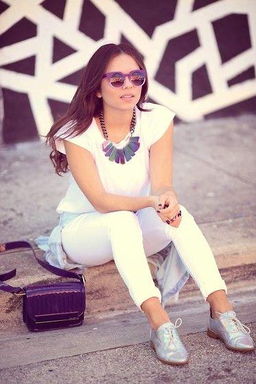 Daniela Ramirez - Ag Jeans, Ted Baker Bag, Oia Jules Necklace, Zerouv Sunglasses - Purple Stardust...