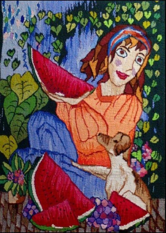 Tapiz de María Coca, Tramablanca. Tejido en telar manual de alto lizo, lanas teñidas a mano.