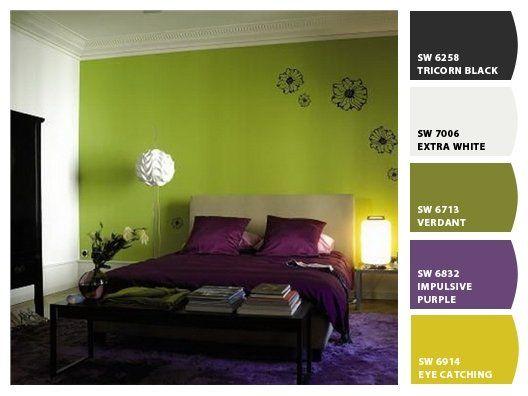 Am la combinaci n del verde en las paredes y morado en la for Pintura pared verde