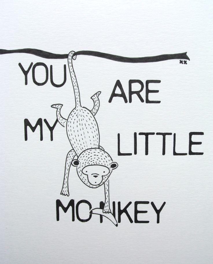 monkey illustration | aap illustratie | kinderkamer | kidsroom | www.kinderkamervintage.nl