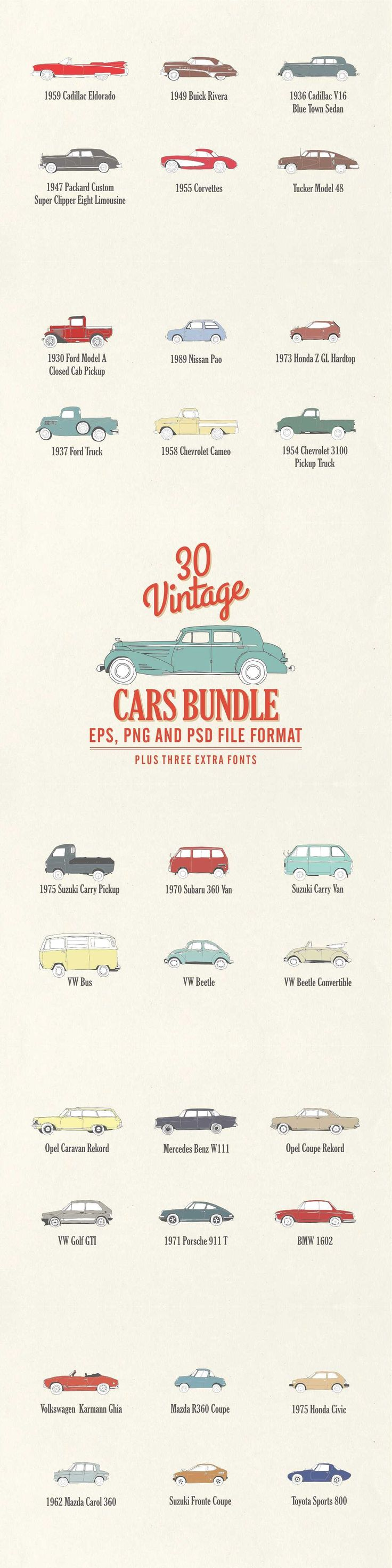 30 Vintage Cars Bundle