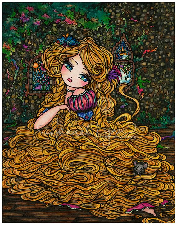 Rapunzel Tower Princess 8x10 Art Print Fantasy Hannah Lynn