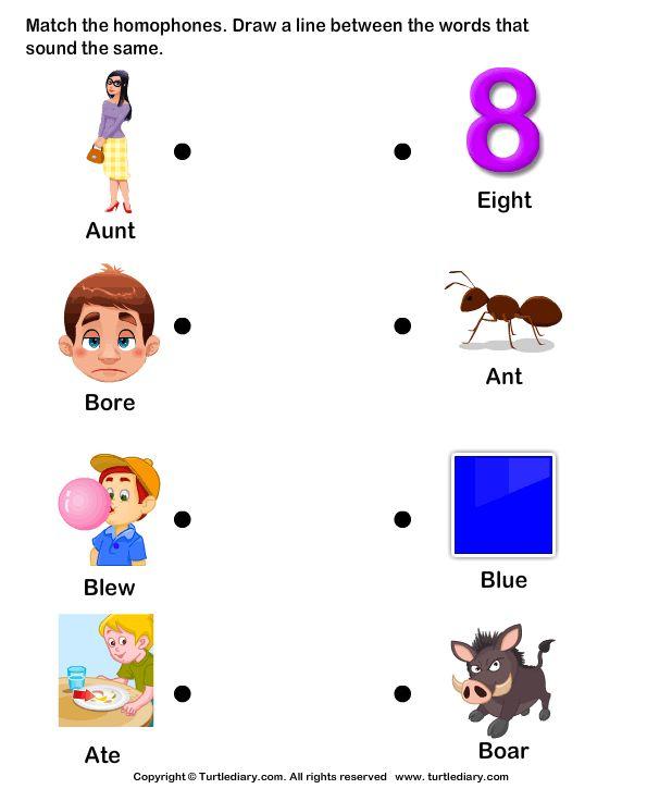 match homophones worksheets homonyms homophones kindergarten worksheets worksheets. Black Bedroom Furniture Sets. Home Design Ideas