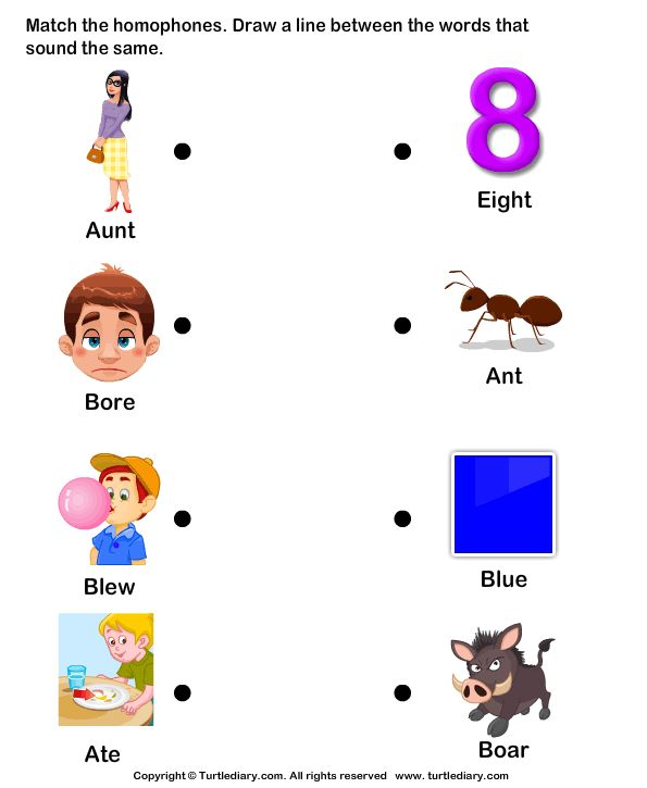 Match Homophones worksheets | Homonyms / Homophones | Pinterest | The ...
