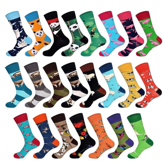 1 Pair Happy Funny Men Socks Combed Cotton High Quality Wedding Gift Womens Teen Sokken Cool Dress Crew Sock Choice Materials Men's Socks