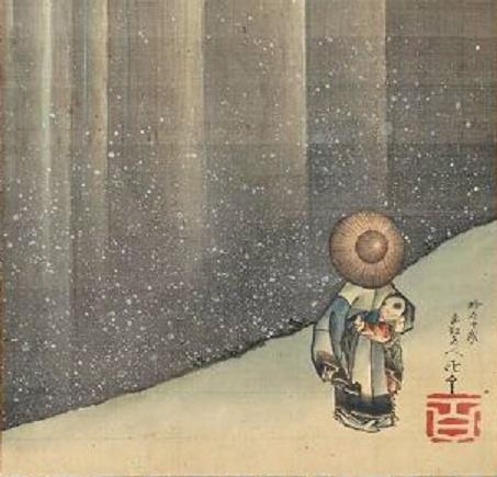 Angle d'art : L'art sous tous les angles      Archive     Lourania      Mon 7ème art  petitpoulailler: artemisdreaming: 1849 Katsushika Hokusai (Japanese, 1760-1849) (Ka'ei 2) ~ Li Bai Admiring a Waterfall; overall: 189.7 x 48.1 cm (74 11/16 x 18 15/16 in.) Image: 93.4 x 30 cm (36 3/4 x 11 13/16 in.); Hanging scroll; ink and color on silk; Museum of Fine Arts, Boston, Massachusetts
