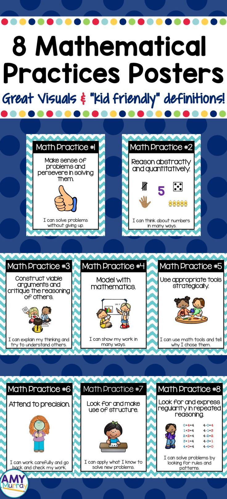 "8 Math Practices Posters for young learners- great visuals with detailed definitions and ""kid friendly"" terminology."