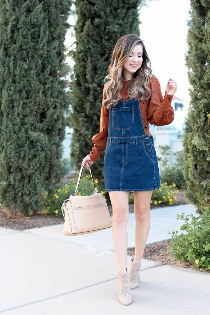 209f1b7f6458 Simply Sutter - Forever21 - overall dress - denim dress - fall fashion -  best fall outfits