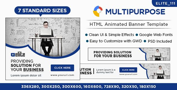 Multipurpose HTML5 Banners - 7 Sizes - Elite-CC-111