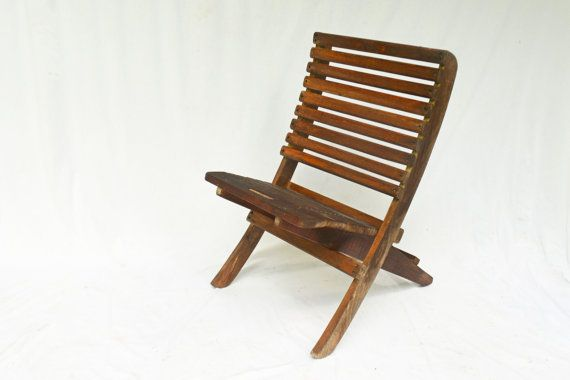 Wooden Beach Chair   Vintage Outdoor Chair Low by Vintassentials