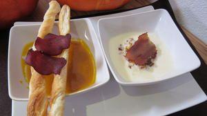 Rezept: Süppchen mit Mostbröckli in zwei Varianten (Käse- und Kürbissuppe)