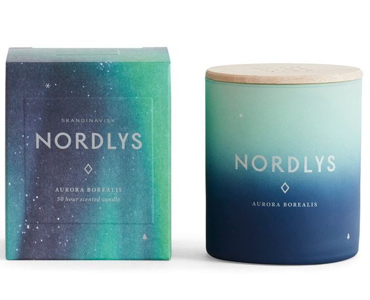 NORDLYS [NOR-LUCE], Norwegian for 'northern light'. Magical, elusive, indefinable. The Northern Lights are one of nature's seven wonders, a symphony of colour, movement and scale once thought by ancient norse chroniclers to be sun flares, great ocean fires or glacial fluorescence.  Made from a blend of perfume and vegetable wax with a 100% cotton wick and engraved beechwood lid. Hand-poured into a painted glass votive, it will burn for up to 50 hours. Designed in Denmark, assembled in…