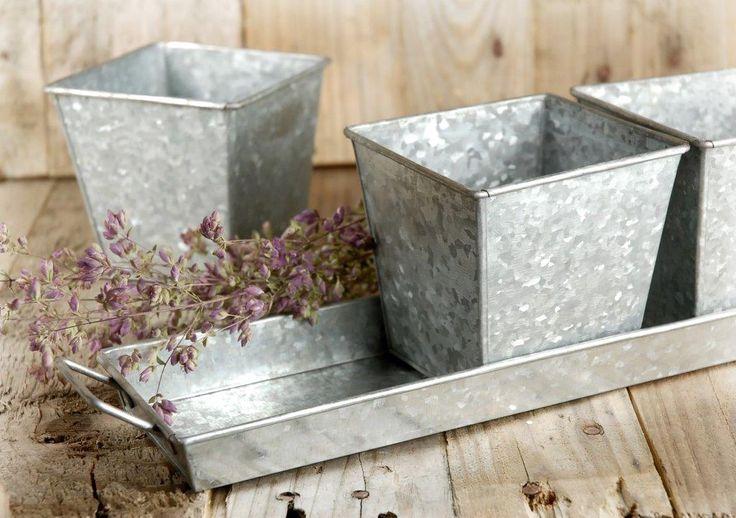Herb Pots Galvanized & Tray Set of 3