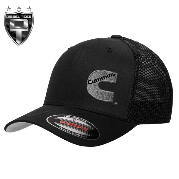 Cummins Diesel GREY on BLACK FlexFit Trucker Hat